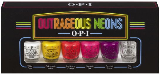 "OPI's limited-edition mini pack, ""Outrageous Neons"""